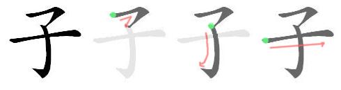 子: Stroke order